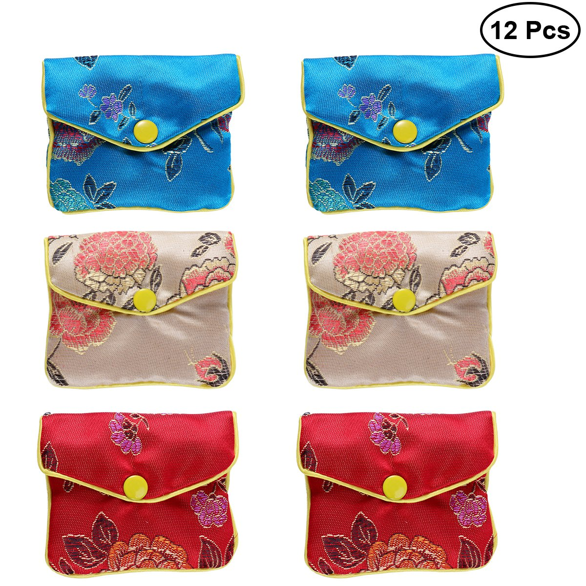 NUOLUX 12pcs Chinese Traditional Brocade Pouch Silk Embroidery Pouch Jewelry Bag LEPTS122
