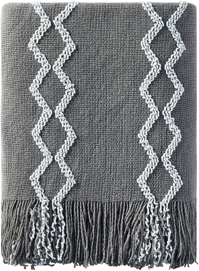"Bourina Fluffy Chenille Knitted Fringe Throw Blanket Lightweight Soft Cozy for Bed Sofa Chair Throw Blankets, 50"" x 60"",Grey"