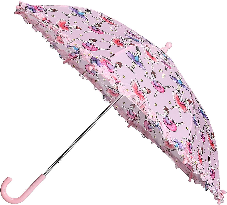 Pink CTM Kids Ballerina Print Stick Umbrella