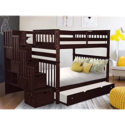 Buy Bedz King Stairway Bunk Beds Full Over Full With 4 Drawers In The Steps And A Full Trundle Cappuccino Online In Vietnam B00ktfnpi0