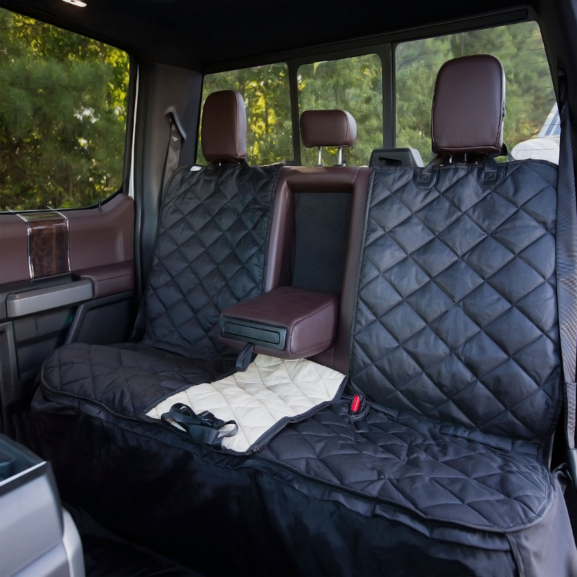 Plush Paws Custom Dog Seat Cover Center Console Access, Removable Hammock - Black, Waterproof & NonSlip Silicone Backing for Cars, Trucks & Suv's