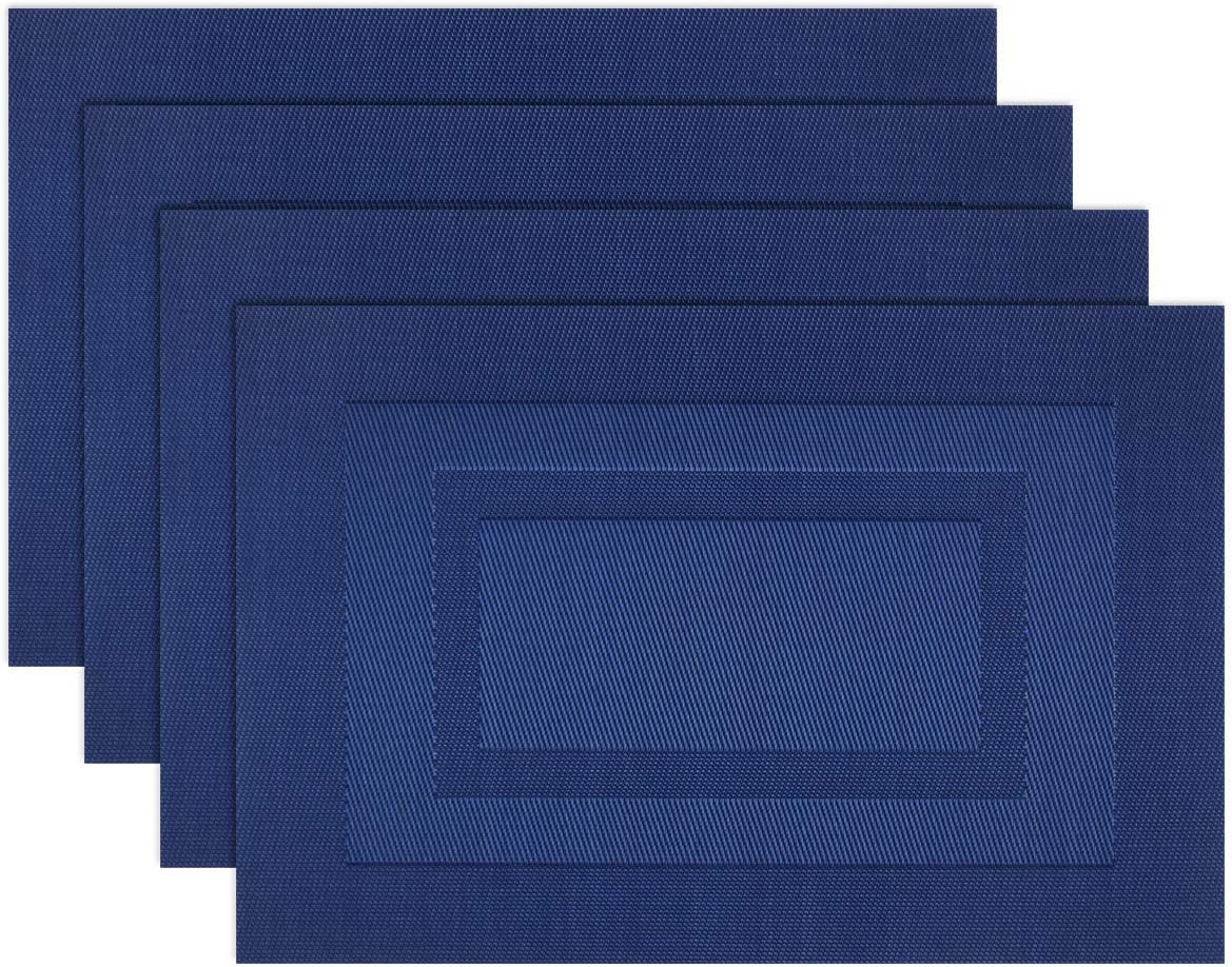 pigchcy Placemats,Washable Vinyl Woven Table Mats,Elegant Placemats for Dining Table Set of 4 (18X12 inch, Navy Blue)