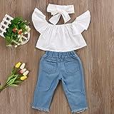 3pcs Baby Girls Kids Off Shoulder Lotus Leaf Top