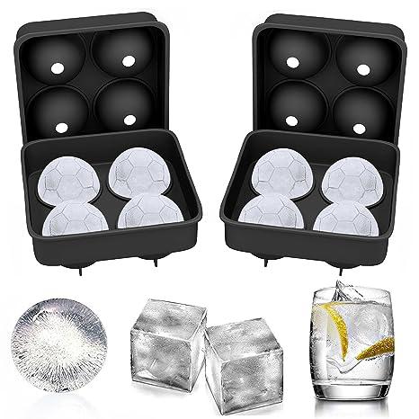 hemcer Fútbol – Cubitera (silicona grande 2 pieza cubitos de hielo forma de bola (
