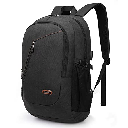 CoolBELL Laptop Backpack with USB Charging Port Outdoor Travel Rucksack Water-Resistant Knapsack Protective Day Pack School Backpack Fits 17.3 Inches Laptop for Men Women College Black