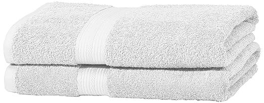 180 opinioni per AmazonBasics- Set di 2 asciugamani da bagno che non sbiadiscono, colore Bianco