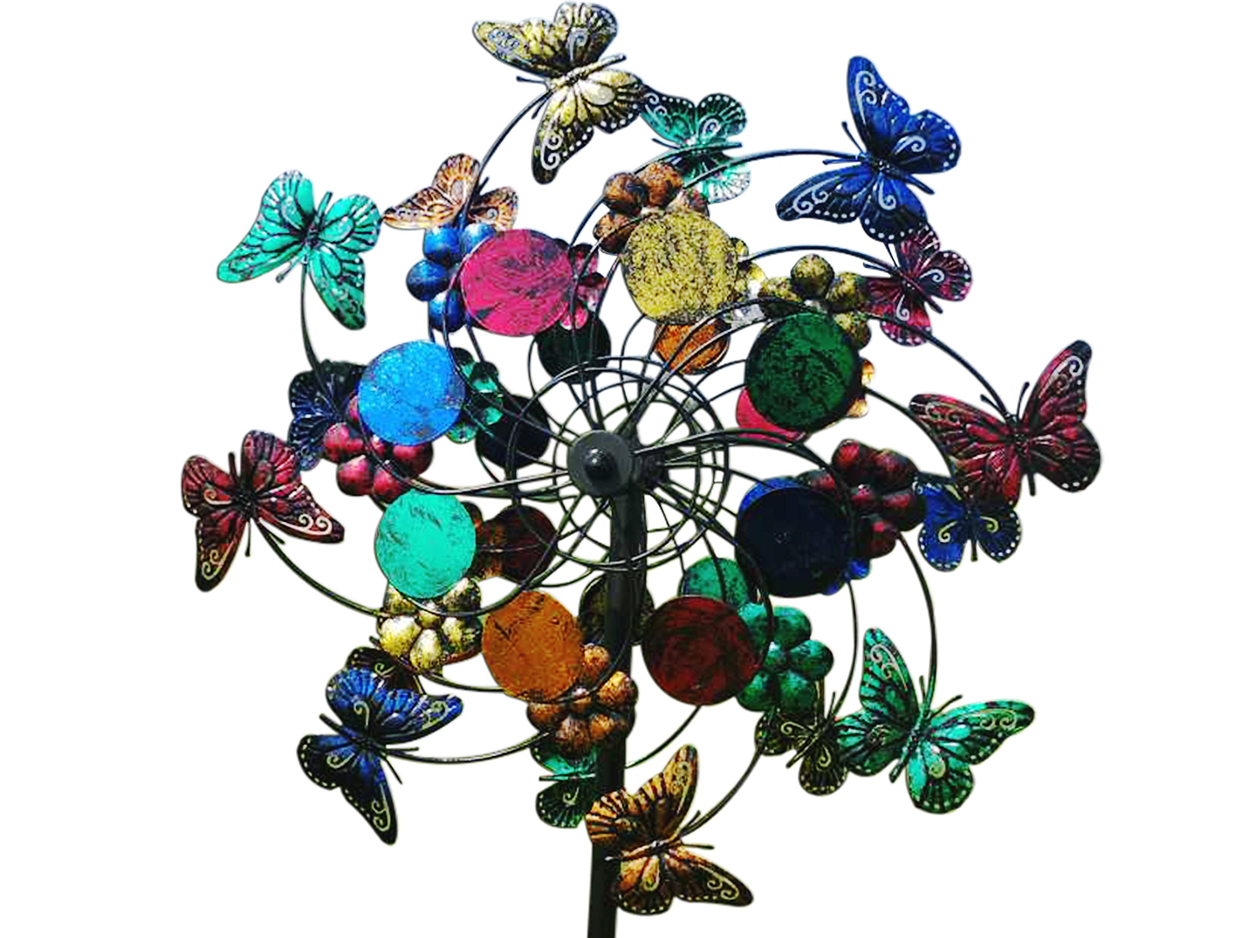 Fancy Gardens Multi Colored Butterlies and Flowers Wind Spinner