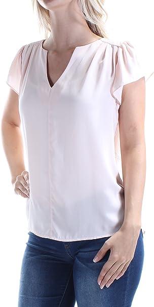 maison Jules Womens Flutter Sleeve Pullover Blouse