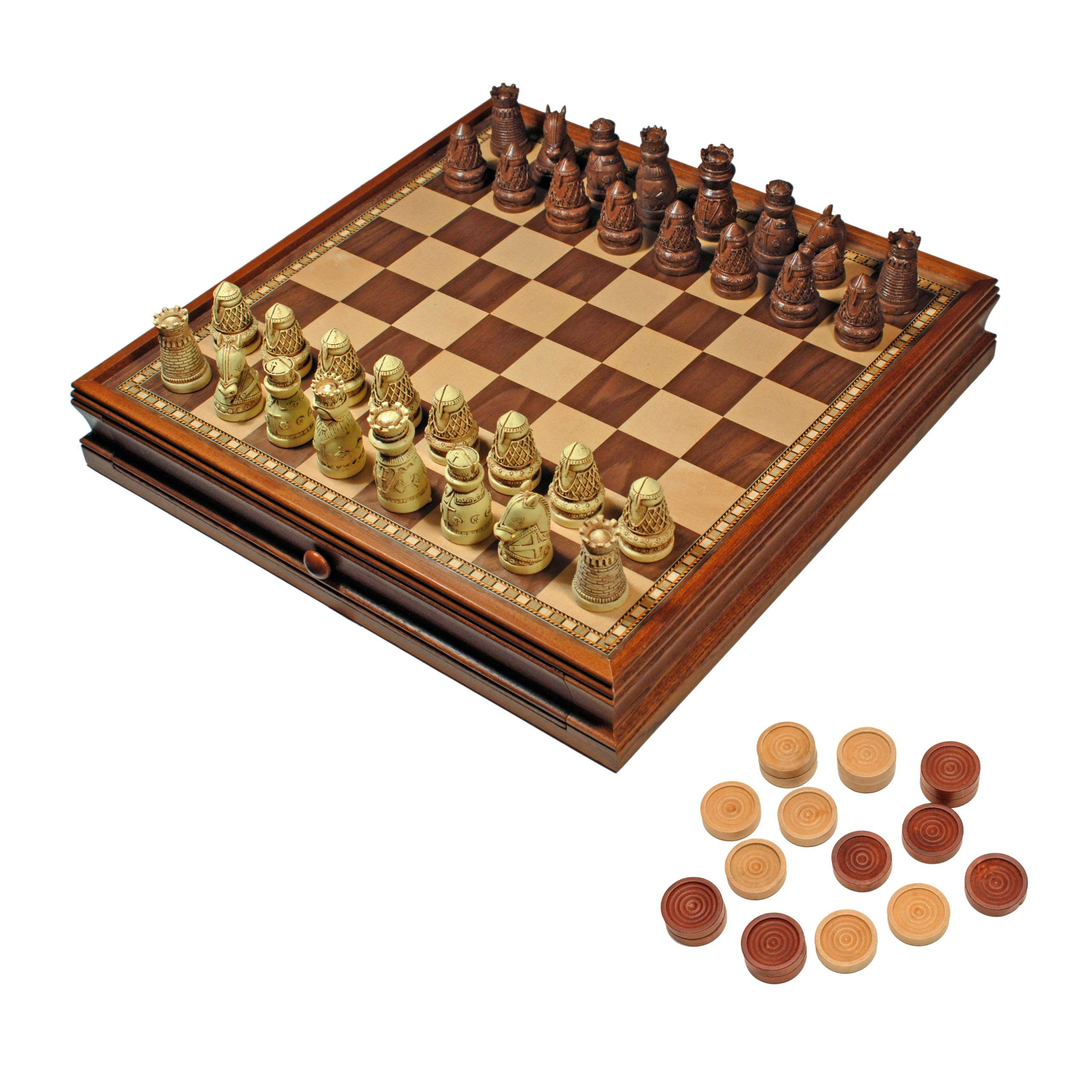 WE Games Medieval Chess & Checkers Game Set - Brown & Ivory Chessmen & Wood Board with Storage Drawers 15 in. (Certified Refurbished)