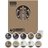 Starbucks K-Cup Coffee Pods — Blonde, Medium & Dark Roast Variety Pack for Keurig Brewers — 1 box (40 pods total)