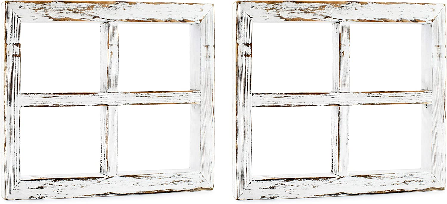 Darware Rustic Window Wood Frames (2-Pack, 11 x 16 Inch, Whitewashed); Distressed White Window Pane Rustic Wall Decor for Photos, Pictures, Collages, and DIY Wall Art