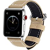 9 Colors for Apple Watch Band, Fullmosa Mosa Calf Leather Strap Replacement Band/Strap with Stainless Steel Clasp for Apple iWatch Series 1 2 3 Sport and Edition Versions 2015 2016 2017, Khaki,42mm