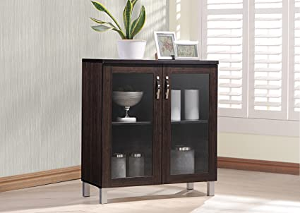 Wholesale Interiors Sintra Sideboard Storage Cabinet with Glass Doors Dark Brown & Amazon.com - Wholesale Interiors Sintra Sideboard Storage Cabinet ...