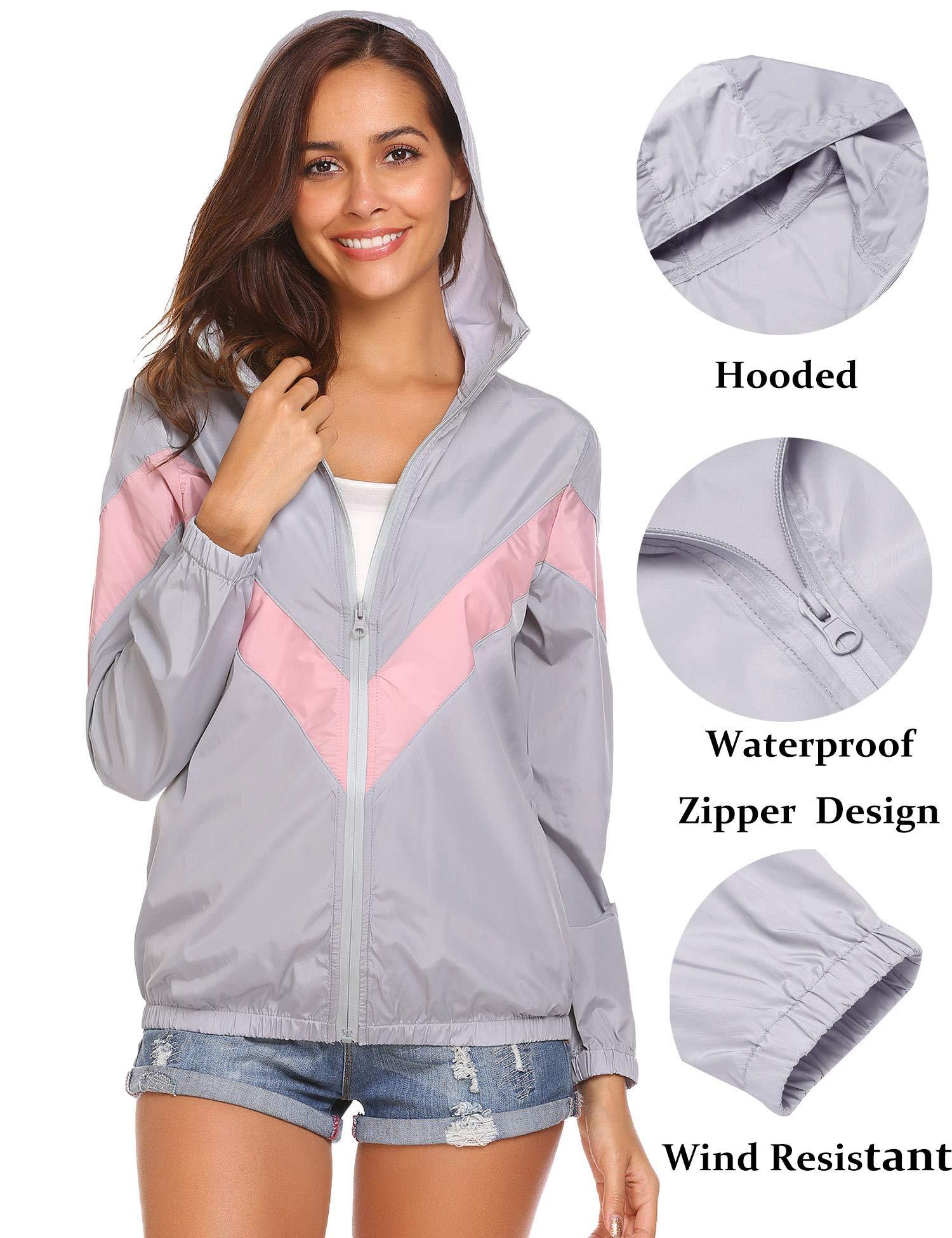 Teewanna Women's Lightweight Waterproof Breathable Windbreaker Windrunner Wind Jacket Rainwear Grey XXL