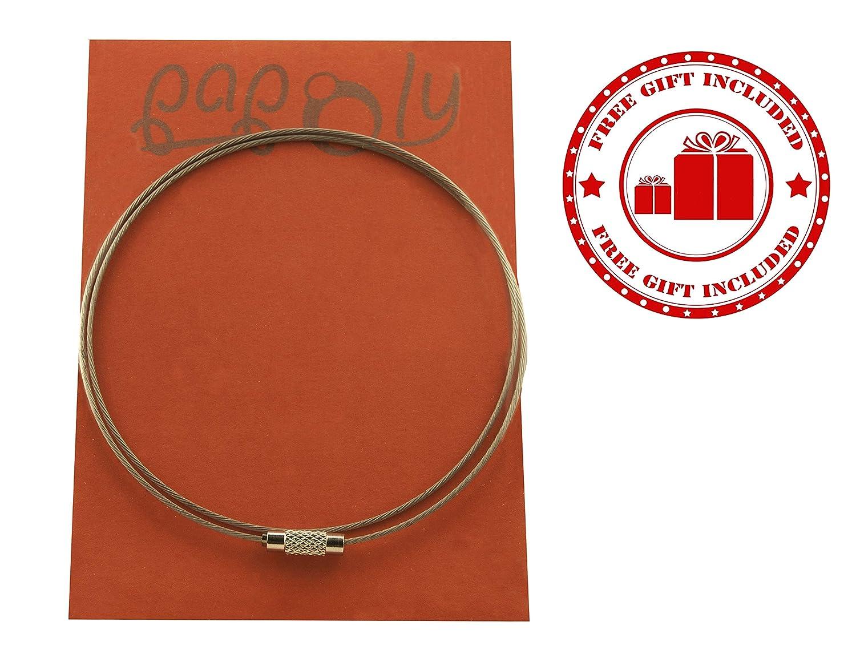 Regalo Gamuza Limpia Plata 25x10cm Cadena semirrigida de Acero. PAPOLY/® Colgante Buho Lucky en Plata DE Ley 925