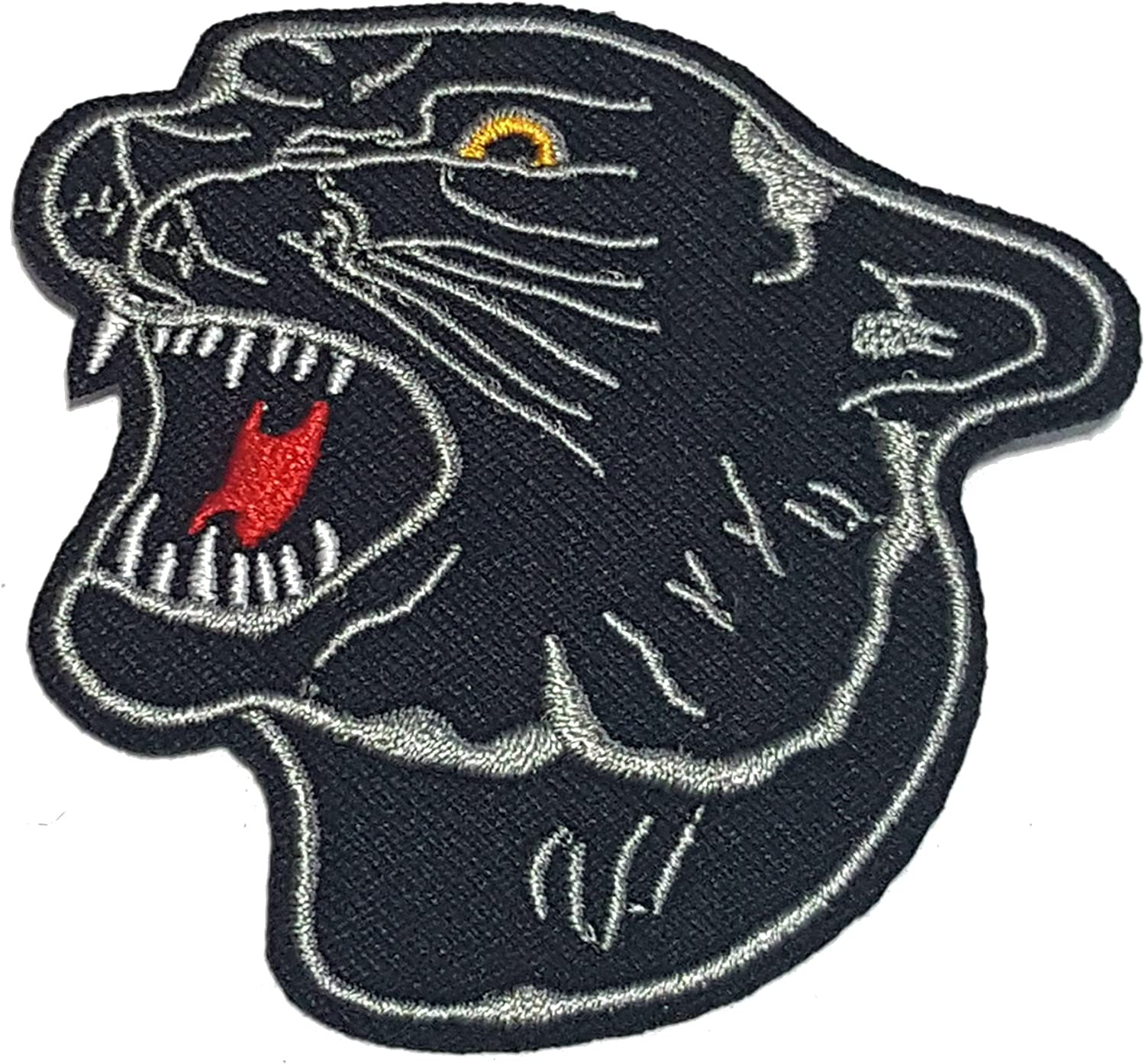 Embroidered Black Glitter Panther Jaguar Wild Cat Applique Jacket Patch Iron On