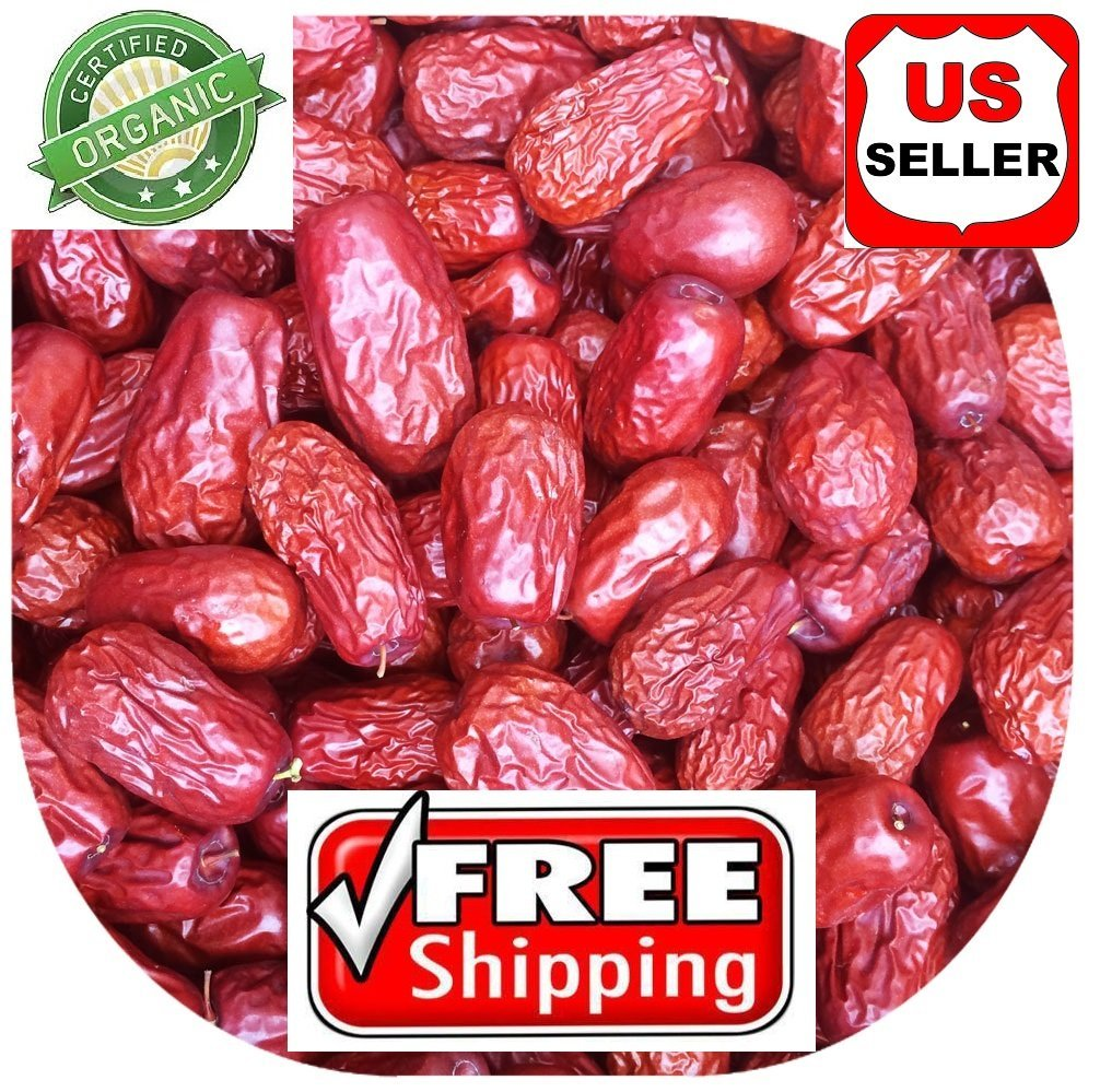 PowerNutri Shop 4 Pounds (64 oz) ALL NATURAL GROWN ORGANICALLY Dried JUJUBE DATES,Dates,CHINESE DATES,US SELLER,Fresh and best quality guarantee,UNBEATABLE QUALITY AT THIS PRICE!! HAND SELECTED by PowerNutri Shop (Image #1)