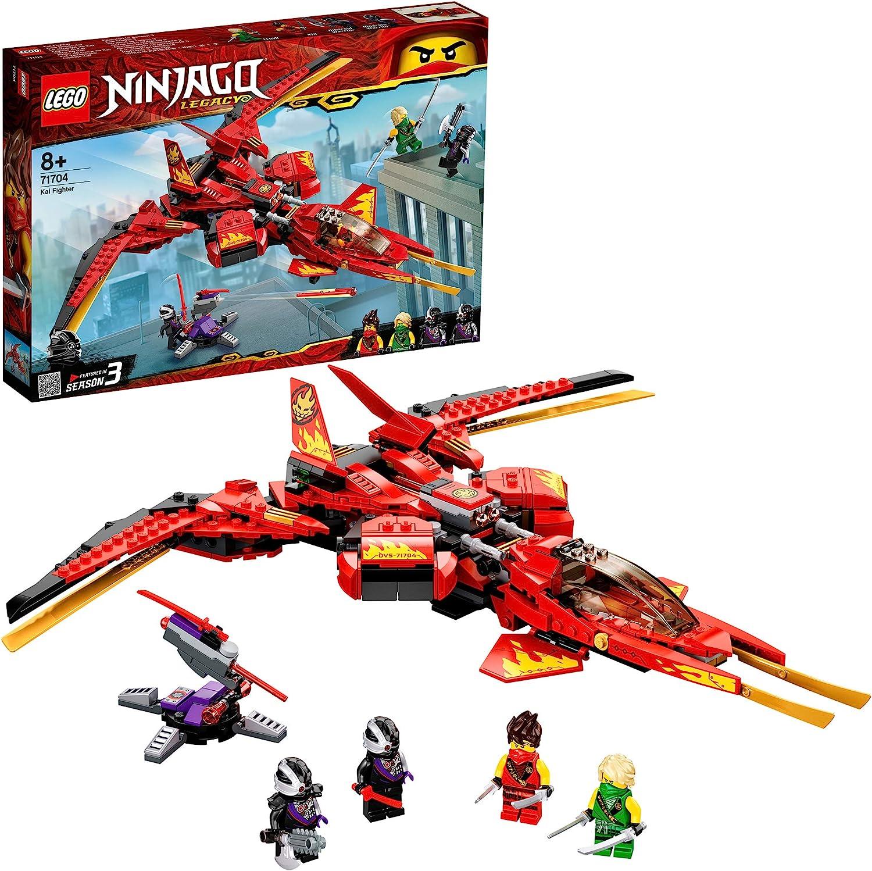 LEGO Ninjago - Caza de Kai, Juguete para niñas y niños de 7 años, Set de construcción de avión rojo con minifiguras de ninjas, Juguete de acción (71704)