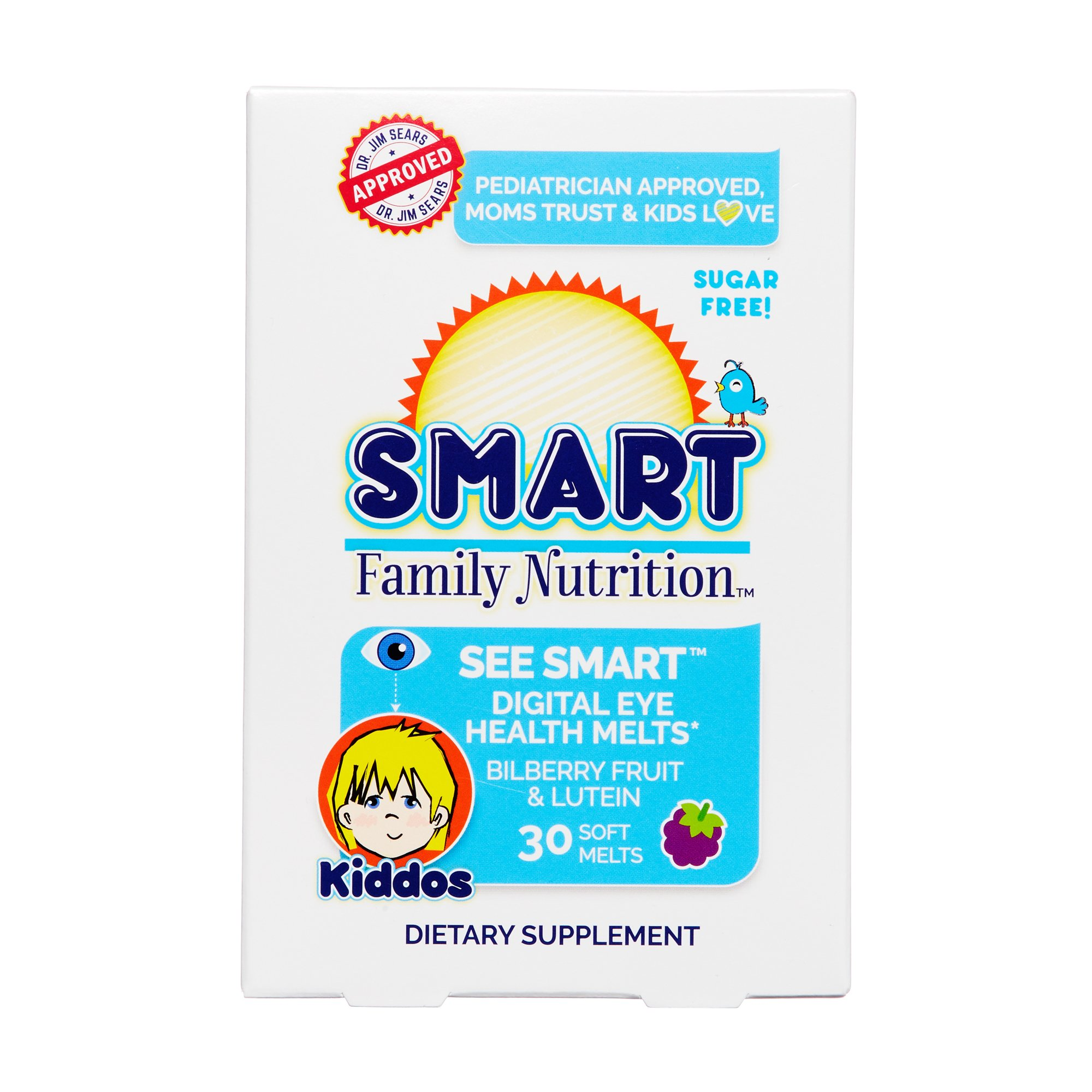 Smart Family Nutrition - See Smart Digital Eye Health, Supports Clear Vision and Eye Health with Bilberry Fruit and Lutein, Sugar Free, Gluten Free, Non-GMO, 2 Years and Older, 30 Soft Melts