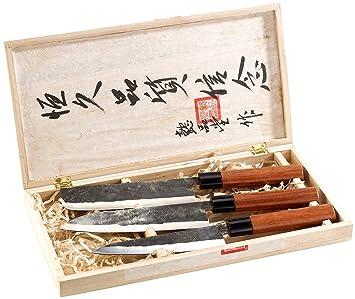 PEARL Messer: 3-teiliges Messerset, handgefertigt, mit Echtholzgriff (Hackmesser)