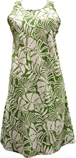 product image for Paradise Found Womens Pareau Leaves Short Tank Dress Olive XS