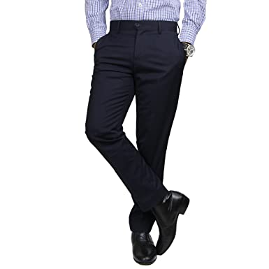 4b3fde6dfe Identity Mens Stylish Corporate Wear Office Dress Pants Slim Fit Straight  Slack Trousers - Navy (