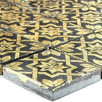 Keramik Feinsteinzeug Mosaik Fliese Blattgold Schwarz Fur