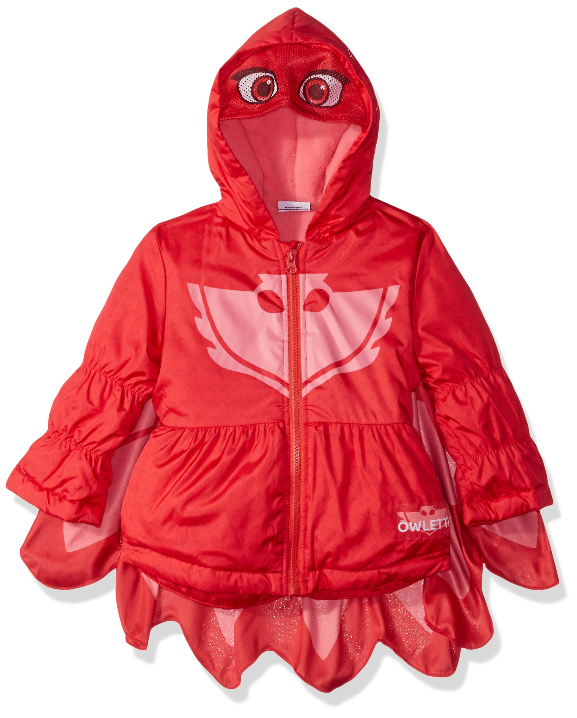 PJMASKS Big Girls Owlette Puffer Coat, Red/Pink, 3T