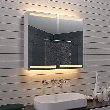 Lux Aqua Alu Badezimmer Spiegelschrank Badschrank Kosmetikspiegel Mla0870 D1 Silber 80x70 Cm
