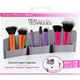 Real Techniques 3 Pocket Expert Organizer Grey, Easily Mounts to Mirror, Wall, Dresser, or Tile, Holds Makeup, Makeup…