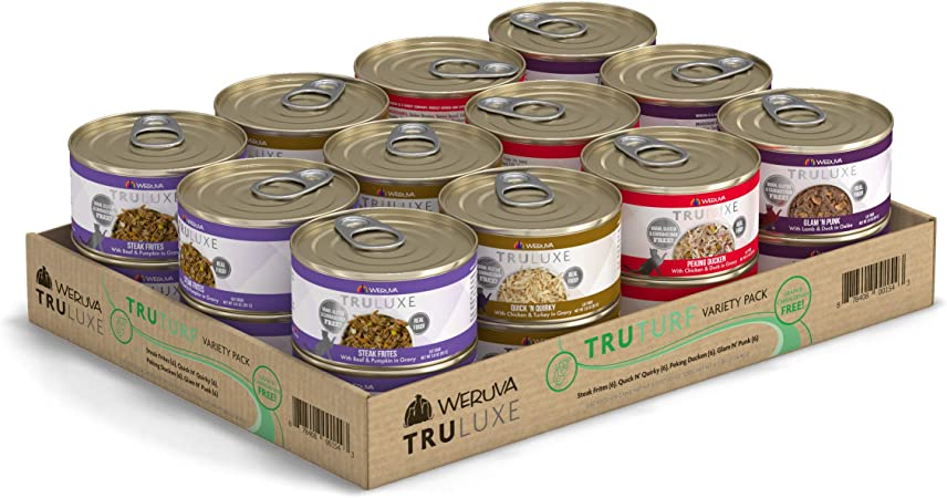 Amazon Com Weruva Truluxe Cat Food Variety Pack Truturf Wet Cat Food 3oz Cans Pack Of 24 Pet Supplies