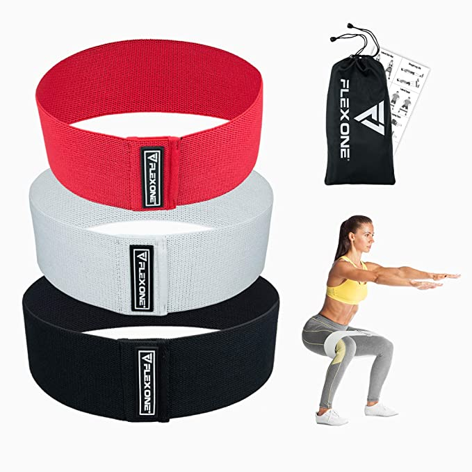 FlexOne Fitness Premium Hip Resistance Exercise Bands | Activate Legs, Butt, Thighs and Hips | 3 Wide, Thick, Circle Bands | Men and Women best resistance bands