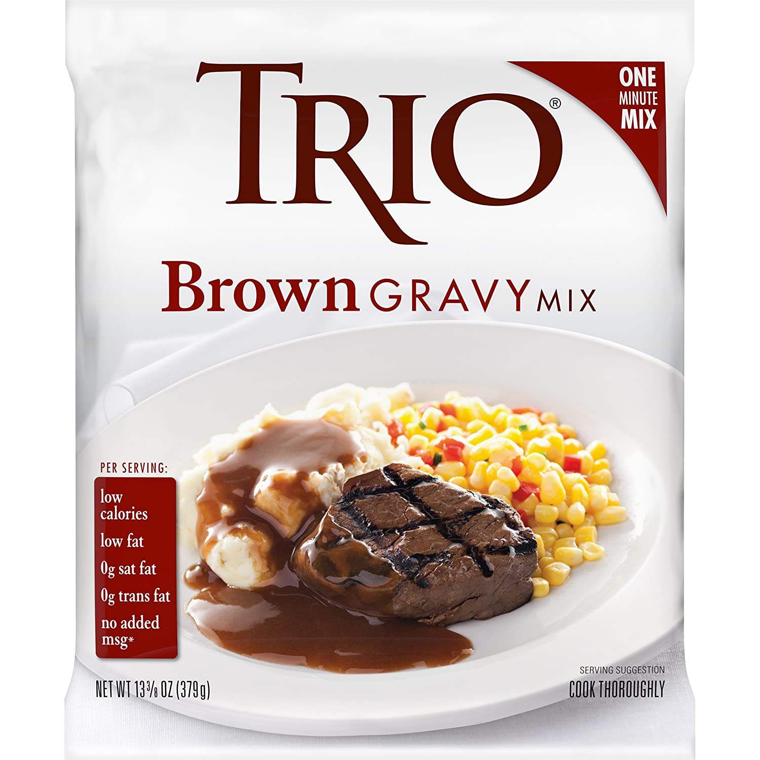 Trio Gravy Mix, Brown Gravy, Holiday Roasts, Dehydrated, Just Add Water, 13.37 oz Bag
