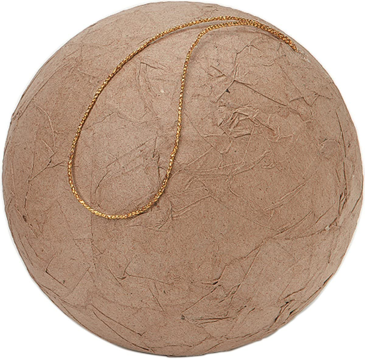 80mm Darice Natural Paper Mache Ball Ornament Brown with Wrinkled Texture