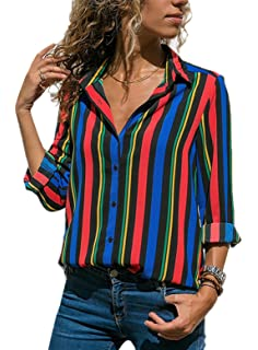 b19025c3077 Dearlovers Womens Long Sleeves Shirts V Neck Button Up Striped Casual  Blouses Tops