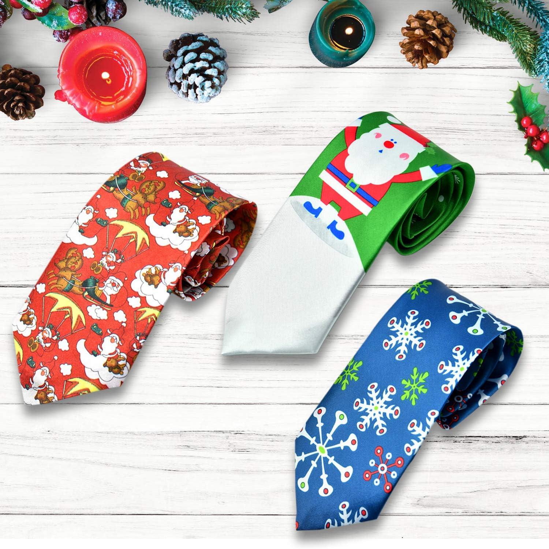 Talla /única HOWAF 3pcs Corbata navide/ña para Adultos Hombres Corbatas de Novedad Corbata de Copo de Nieve Pap/á Noel para Hombres