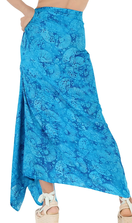 LA LEELA Rayon Resort Scarf Deal Printed Dress Beach Sarong