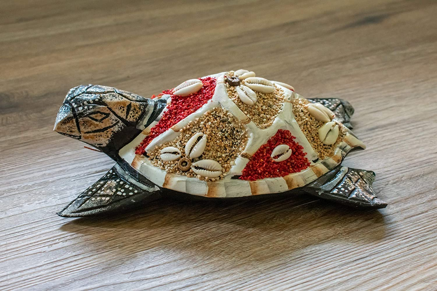 G6 COLLECTION Wooden Tortoise Turtle Home Decor Sculpture Statue Hand Carved Decorative Accent Figurine Handcrafted Handmade Seaside Tropical Nautical Ocean Coastal Decoration Wall Hanging (Red)