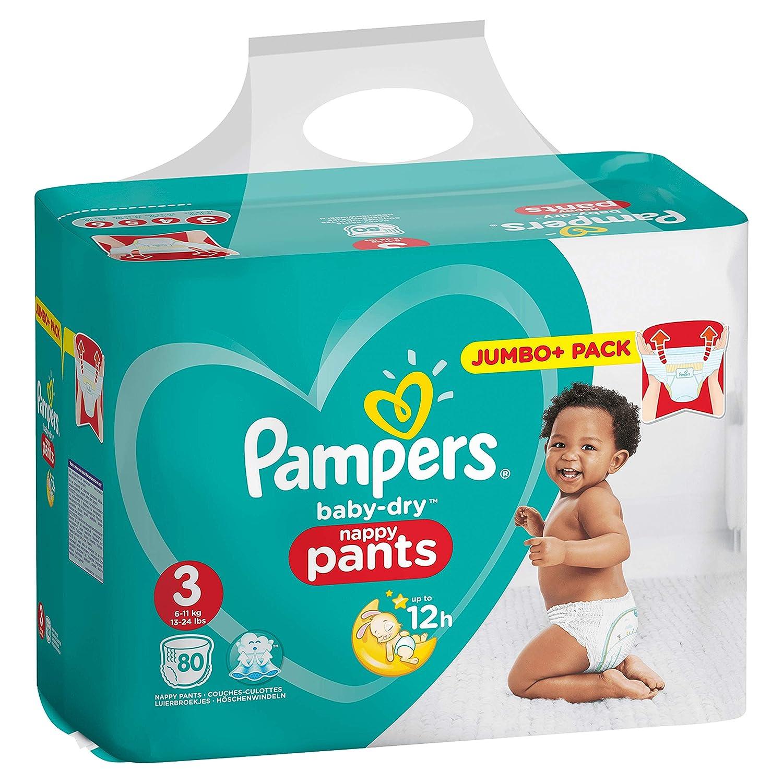 Pampers 81666871 pa/ñal desechable Ni/ño//ni/ña 3 80 pieza Ni/ño//ni/ña, Pant diaper, 6 kg, 11 kg, Multicolor, 12 h - Pa/ñales desechables s