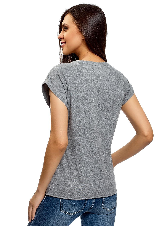 oodji Ultra Womens Printed Cotton Tagless T-Shirt with Raw Hem