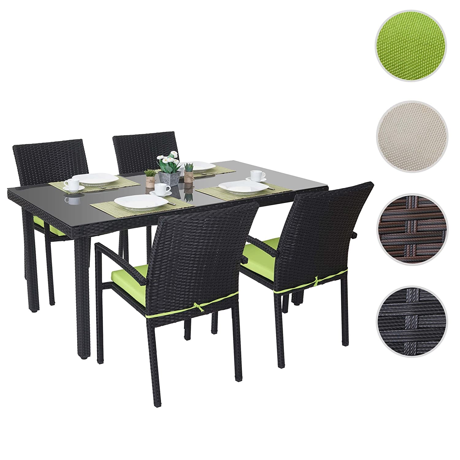 poly rattan garnitur cava garten sitzgruppe 4x stuhl tisch 160x90cm anthrazit kissen gr n. Black Bedroom Furniture Sets. Home Design Ideas