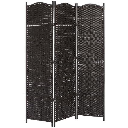 Amazoncom MyGift 3 Panel Dark Brown Wood Bamboo Woven Room
