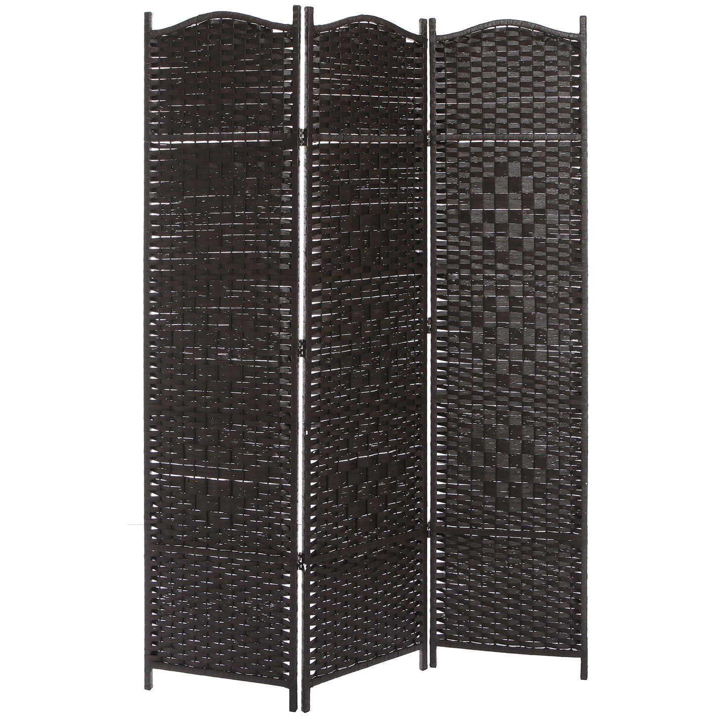 MyGift 3 Panel Dark Brown Wood & Bamboo Woven Room Divider, Decorative Indoor Folding Screens