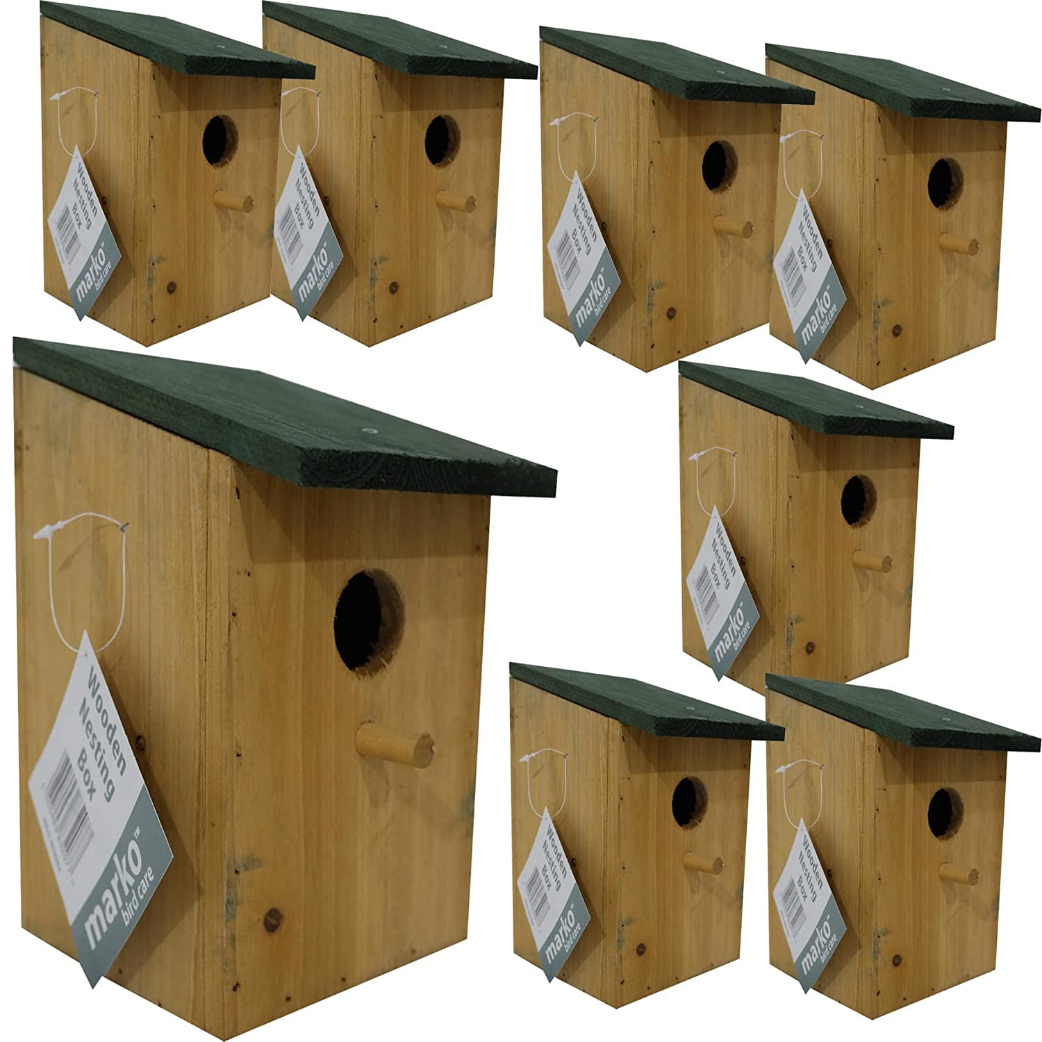 8 pc Traditional Wooden Nesting Boxes Bird Nest Wood House Small Birds Bluetit Marko Bird Care