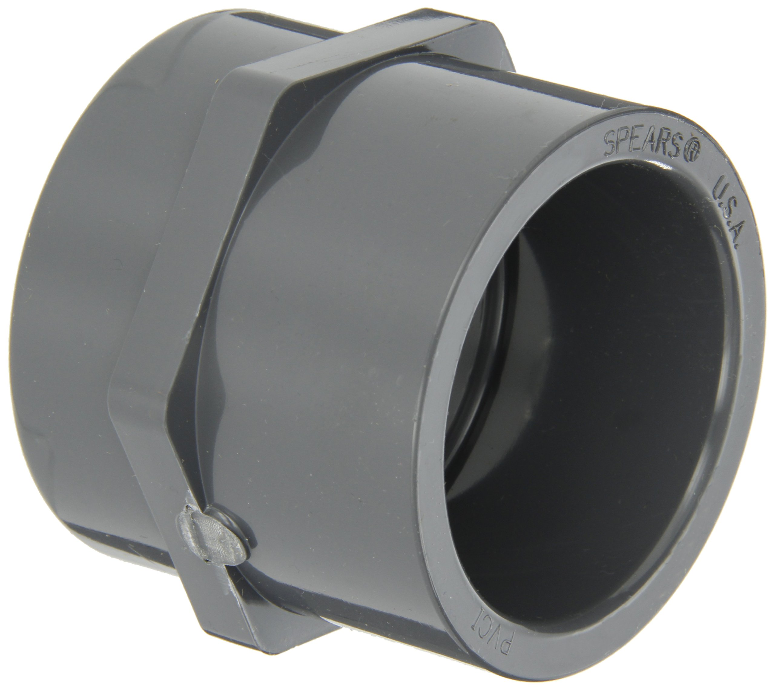 GF Piping Systems PVC Pipe Fitting, Adapter, Schedule 80, Gray, 1-1/2'' NPT Female x Slip Socket