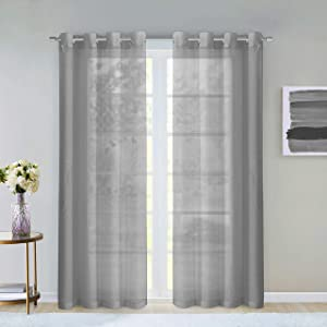 "Dainty Home Malibu Textured Semi-Sheer Linen Look Grommet Top Curtain Panel Pair, 54"" x 84"" each (108"" x 84"" total), Silver Grey"