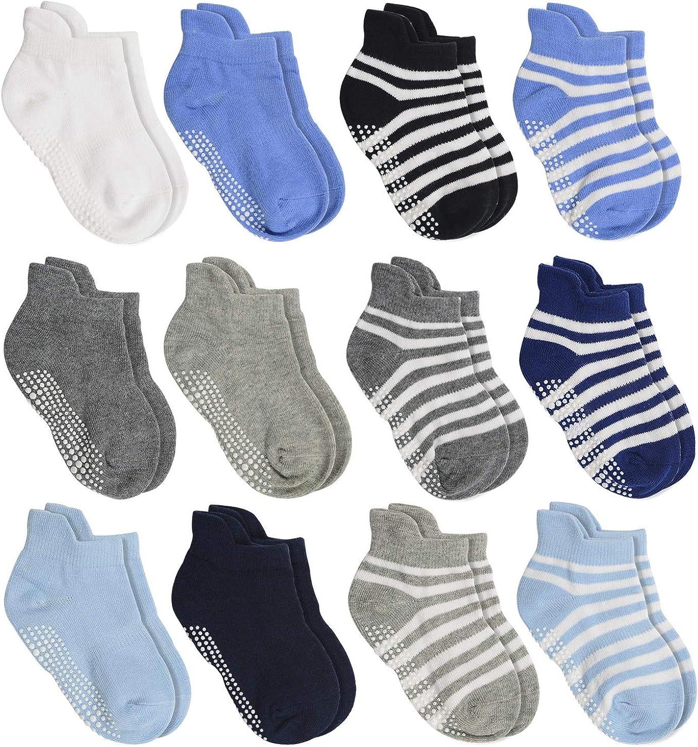 WELMOR Anti Slip Non Skid/Ankle Socks With Grips for Baby Toddler Kids Boys Girls 12 Pairs