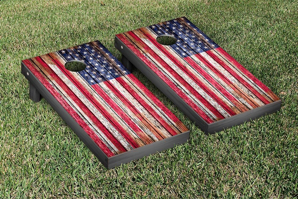United States US Flag Distressed Wood Cornhole Game Set by Victory Tailgate