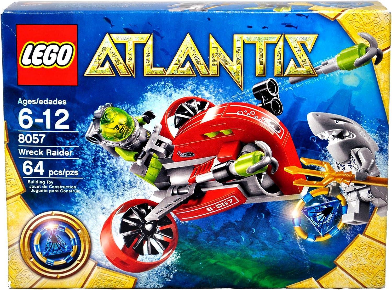 Lego Atlantis Series Set # 8057 - WRECK RAIDER with Flick Launching Harpoons, Blue Atlantis Treasure Key, Shark Warrior Minifigure with Trident and Deep-Sea Diver Minifigure (Total Pieces: 64)