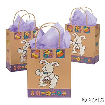 amazon com brown paper easter bunny gift bags pack of 12 health